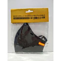 Mascarilla higiénica reutilizable tela negra