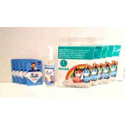 Pack vuelta al cole: 5 mascarillas ffp2 +5 toallitas hidroalcoholicas +1...